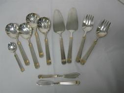 11 RETRONEU ESPRIT GOLD 5 RIBS STAINLESS STEEL SERVING FORKS