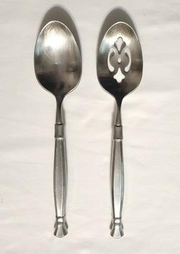 2 Serving Tablespoons -1 Pierced 1 Solid Spoon Oneida ACT II