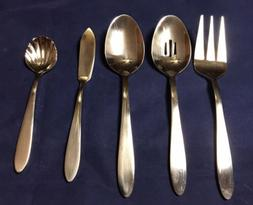 Five  Oneida MOONCREST Stainless Steel Serving Spoon Slotted