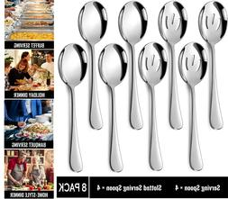 Hiware 8 Pack Stainless Steel Serving Spoons Set Includes 4