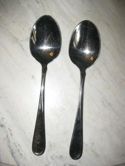 Two Oneida Flight Large Serving Spoons 18/8 Stainless Steel
